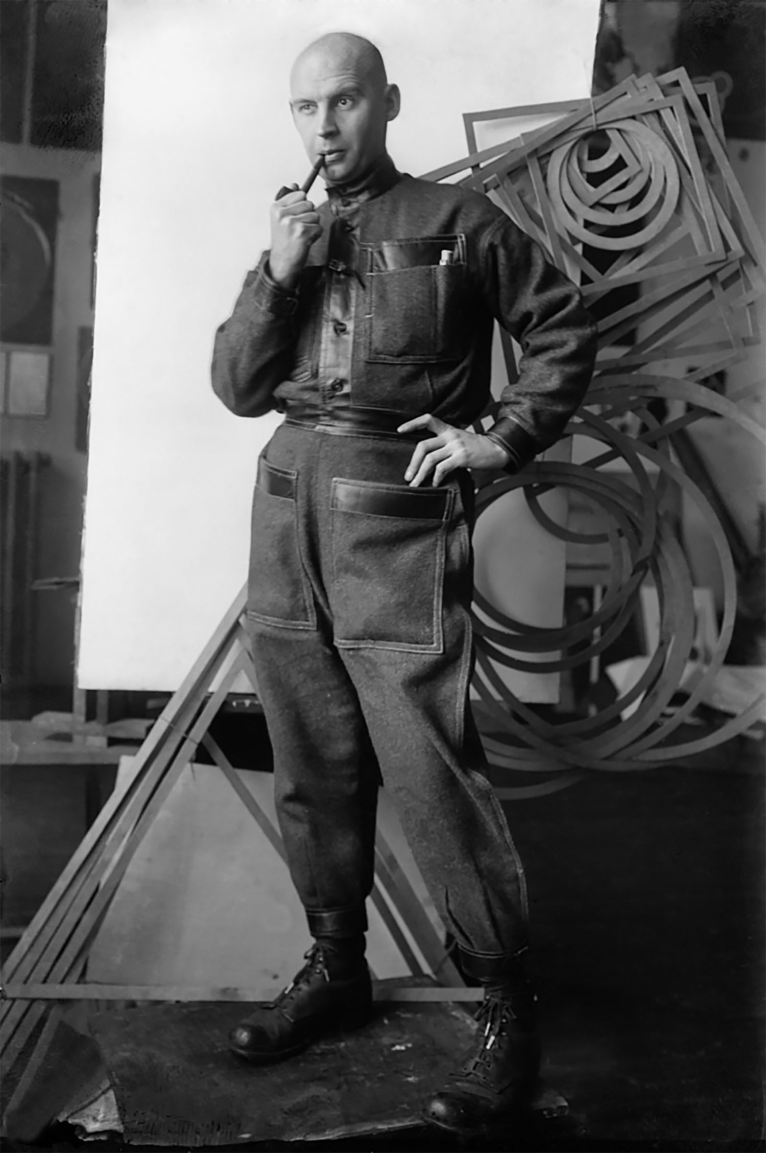 Rodchenko wearing his own jumpsuit — the Varst